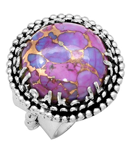 YoTreausre Purple Copper Turquoise 925 Sterling Silver Rings Silver Jewelry