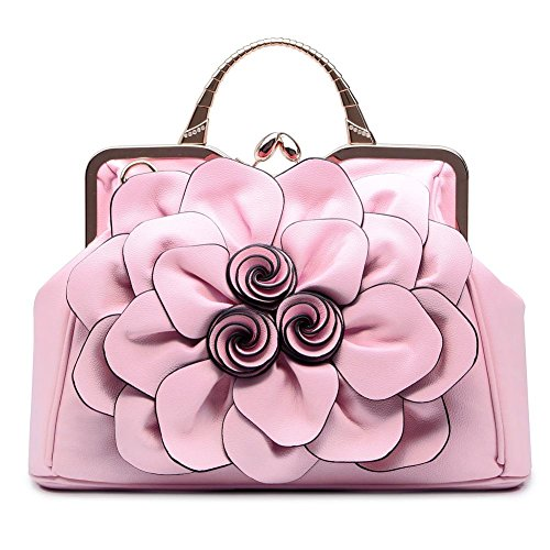 SUNROLAN Women's Evening Clutches Handbags Formal Party Wallets Wedding Purses Wristlets Ethnic Totes Satchel (Pink)