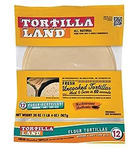 Amazon.com : Tortilla Land Uncooked Flour Tortillas, 20 oz