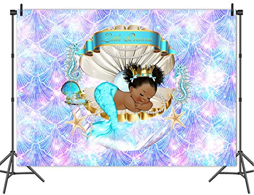 Mehofoto Royal Mermaid Princess Backdrop Under The Sea Shell Crown Baby Shower Background 7x5ft Vinyl Little Black Girl Birthday Party Banner Backdrops ()