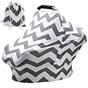 Baby Car Seat Covers Super Soft Stretchy and Breathable Nursing Covers for Boys and Girls with Pouch Cute Gray Wave Stripes