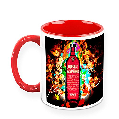 - HomeSoGood Drinks Raspberry Flavored Vodka White Ceramic Coffee Mug - 11 Oz