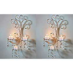 Set of 2 Wall Chandelier Candle Holder Sconce Shab