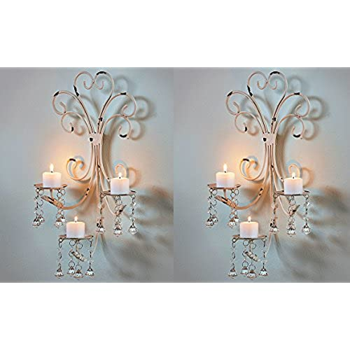 Set of 2 Wall Chandelier Candle Holder Sconce Shabby Chic Elegant Scrollwork Decorative Metal Vintage Style Decorative Home Accent Decoration  sc 1 st  Amazon.com & Shabby Chic Wall Sconce: Amazon.com