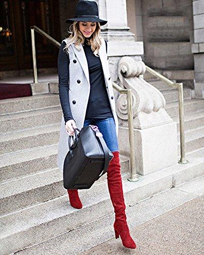 Hauts Chaud Hiver Minetom Mode Au Femme Rouge Boots Genou Sexy Simple Hautes Élégant Pure Chaussures Bottes Couleur Talons qq8pUxa