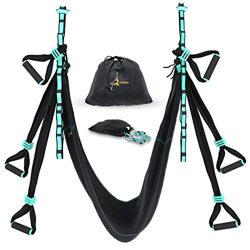 Yoga Trapeze Swing - Strong & Durable Antigravity Aerial Hammock Kit with Inversion Sling - Ideal for Home & Gym Fitness