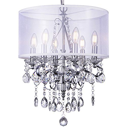 """Modern Chandelier, Wellmet Crystal Pendant Light, Luxury Ceiling Light Fixture with Polished Chrome Finish and Drum Shade Fabric, 16.7""""Elegant Round Island Lights for Your Home, 6 Candle Lights ()"""