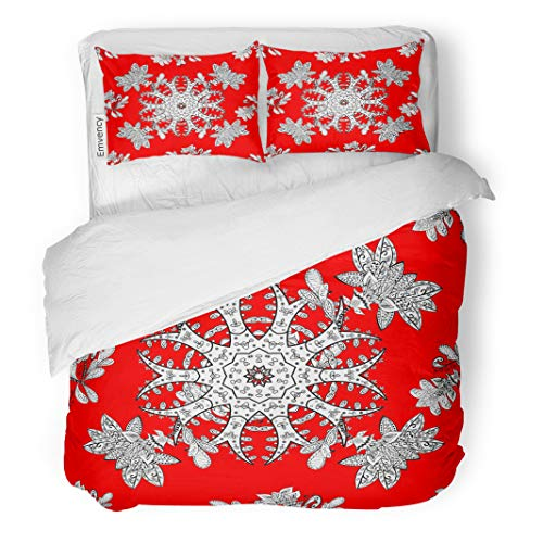 (Semtomn Decor Duvet Cover Set Twin Size Floral Doodles Structure White Raster on Red Snowflake Christmas 3 Piece Brushed Microfiber Fabric Print Bedding Set Cover)