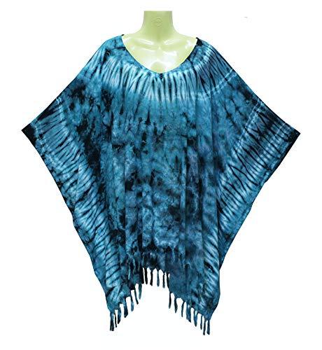 ATM Kaftan Caftan Poncho Tops Blouse Real Handmade Tie dye Plus Size (Turqouise) ()