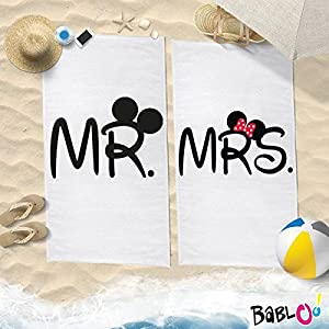 Babloo Coppia di Teli Mare Love You And Me Mr And Mrs Mouse -150x200- 3 spesavip