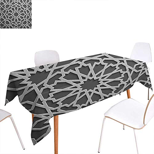 Warm Family Moroccan Dinner Picnic Table ClothHistorical Moroccan Heraldic Empire Design Interlace Form with Mix of Star Flowers Print Waterproof Table Cover for Kitchen 54