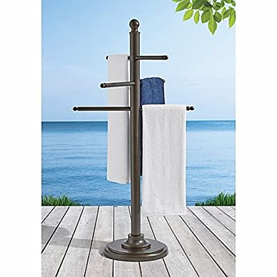 58 Inches Aluminum Poolside Towel Bar in Brown, Sturdy and Elegant, Lightweight, Portable, Outdoor