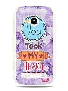 GRÜV Premium Case - 'You Took My Heart Purple Pink Love' Design - Best Quality Designer Print on White Hard Cover - for Nokia Lumia 710
