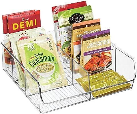 Gew/ürze etc mDesign Aufbewahrungsbox stapelbarer Kasten mit sechs F/ächern zur Lebensmittelaufbewahrung durchsichtig moderner K/üchen Organizer f/ür T/ütensuppen