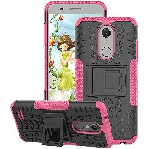 LG K30 Case, LG Premier Pro LTE Case, LG K10 2018 Case, GSDCB Air Cushion Shockproof Phone Protective Case with Kickstand Hard PC Back Cover and Soft TPU Dual Layer (Pink Sweetheart Glasses)