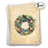 "J2942JXTG3 3 Pack of Jumbo Christmas Thank You Greeting Cards: SUCCULENT WREATHS; with Envelopes (Extra Large Size: 8.5"" x 11"")"