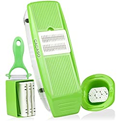 Mandoline Slicer+Peeler, Kitchen Vegetable Slicer Vegetable Grater Vegetable Cutter Julienne Slicer Potato Slicer Food Slicer Cheese Chopper Veggie Cutter for Cucumber With 5 Interchangeable Blades