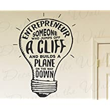 Entreprenuer Someone Who Jumps Off A Cliff And Builds A Plane On The Way Down Richard Branson Success Motivation Inspirational - Wall Decal Quote Vinyl Lettering Art Inspiration Office Sticker Decor