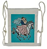 Lunarable Wedding Drawstring Backpack, Married Couple on Horse, Sackpack Bag