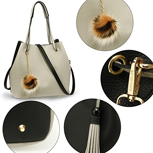 Bags Charm Fur Women's Black Grey LeahWard Charm With Handbags 190 Fur Shoulder atEwI
