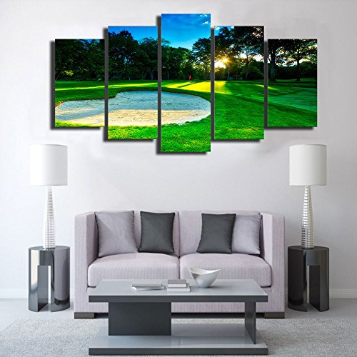 Wall Art Canvas Painting Spring Golf Course Painting Green Forest Wall Pictures for Living Bedroom Decoration With Framed