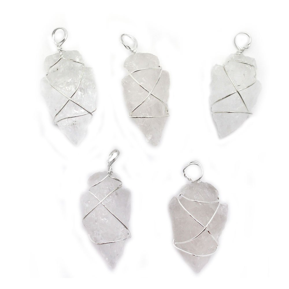 5 Crystal Quartz Arrowhead Pendant Wire Wrapped Silver Plated RP Exclusive COA AM7B6-02 FIVE