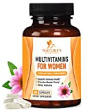 Once Daily Multivitamin for Women, Ultra Potency 1000mg – Raw Whole Food Vitamins A B C D E, Biotin, Calcium, Zinc, Lutein, Magnesium, Manganese, Folic Acid. Nature's Nutrition – 60 Veggie Capsules