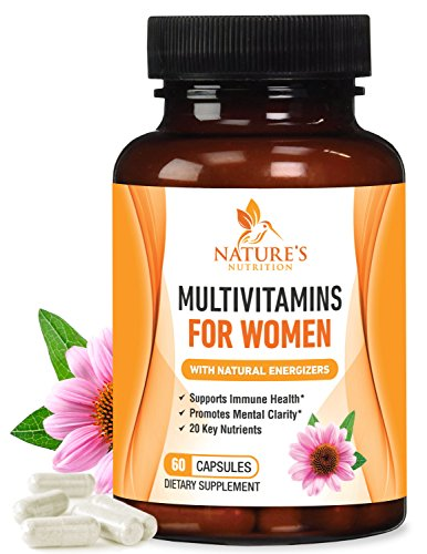 Once Daily Multivitamin for Women, Ultra Potency 1000mg - Raw Whole Food Vitamins A B C D E, Biotin, Calcium, Zinc, Lutein, Magnesium, Manganese, Folic Acid. Nature's Nutrition - 60 Veggie Capsules