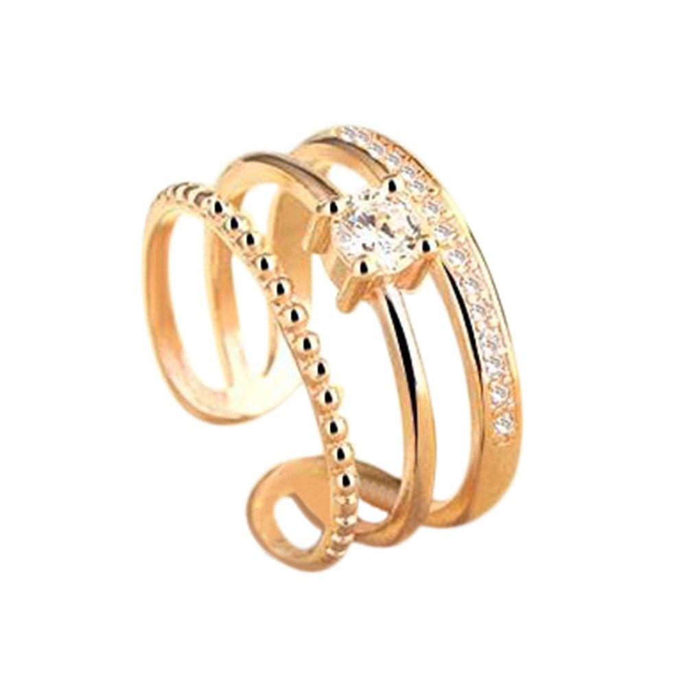 Fablcrew Anello aperto regolabile a 3linee con zirconi, argento, regalo per San Valentino, Natale, Argento, Gold, small