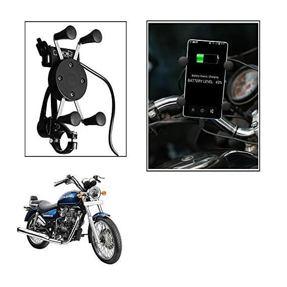 Motoway Spider Bike Mobile Holder with USB Charger Mototrcycle Mobile Holder BracketFor Honda CB Twister