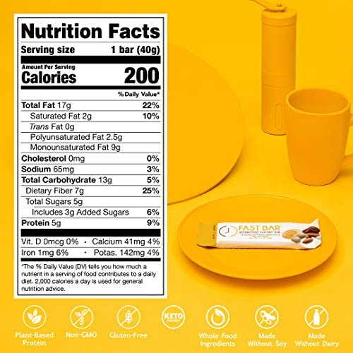 Fast Bar , Nuts & Honey, Gluten Free, Plant Based Protein Bar For Weight Management & Intermittent Fasting (10 Count Box) 6