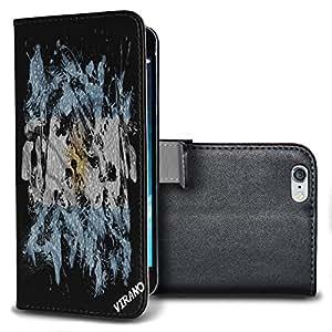 Bandera Pintada Argentina, Negro Funda de Piel Cuero Case Magnética con Función de Soporte Carcasa con Diseño Texturado para Apple iPhone 6 Plus