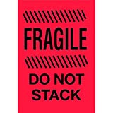 4'' x 6'' Fragile Do Not Stack Labels (500 per Roll)