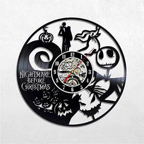 Kovides Vintage Wall Clock Gift Idea Nightmare Before Xmas Decals The Nightmare Before Christmas Wall Clock Decorations for Kids Room LP Clock Nightmare Before Xmas Wall Art Retro Vinyl Record -