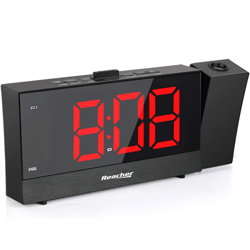 REACHER Projection Alarm Clock with 5.5'' Full Range Dimmer Digital LED Display Dual Alarms Snooze Timer Dual USB Charger Ports Outlet Powered for Bedrooms Bedside iPhone Phone- Black