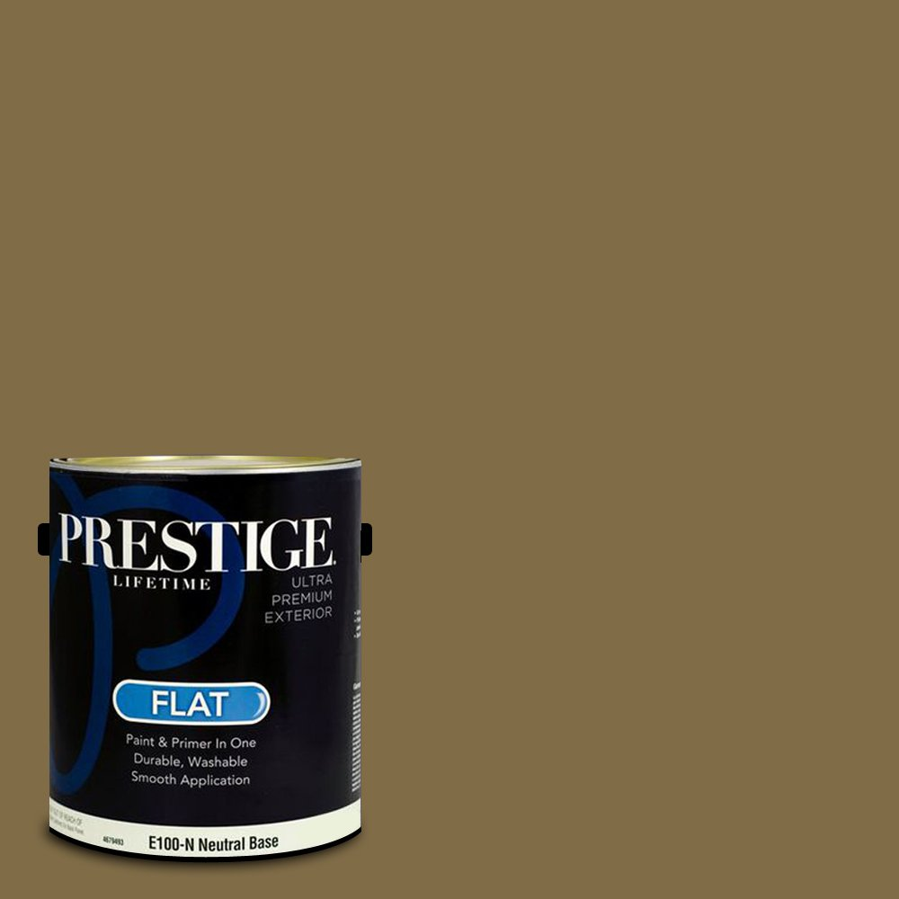 Prestige Paints Exterior Paint and Primer In One, 1-Gallon, Flat,  Comparable Match of Benjamin Moore Aged Bronze