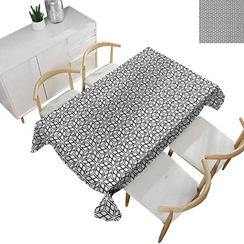 (Black and White,Wholesale tablecloths Symmetrical and Repetitive Pattern with Geometric Grid Motifs Monochrome Table Cover for Outdoor and Indoor Black White 70