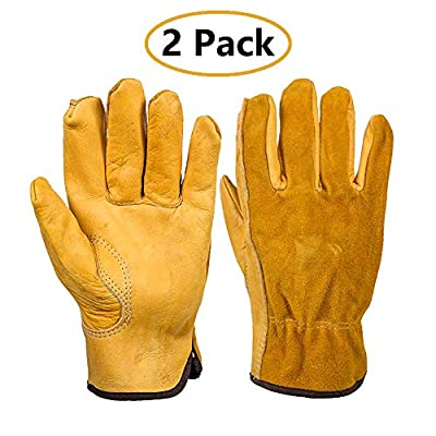Gardening Gloves 2-Pairs Leather Work Gloves for Men & Women, Grain Cowhide Gloves with Elastic Wrist for Heavy Duty/Truck Driving/Warehouse/Gardening/Farm