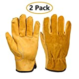 EINSKEY Leather Work Gloves, 2 Pairs Thornproof Garden Gloves Puncture Resistant, Ultimate Sensitivity Gloves for Gardening, Fishing, Construction and Restoration Work & More (M/L/XL)