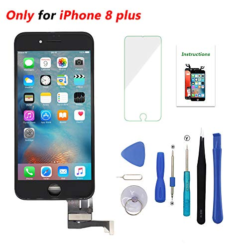 (Screen Replacement Black for iPhone 8 Plus 5.5 inch 3D Touch LCD Screen Digitizer Replacement Frame Display Assembly Set with Repair Tool Kit)