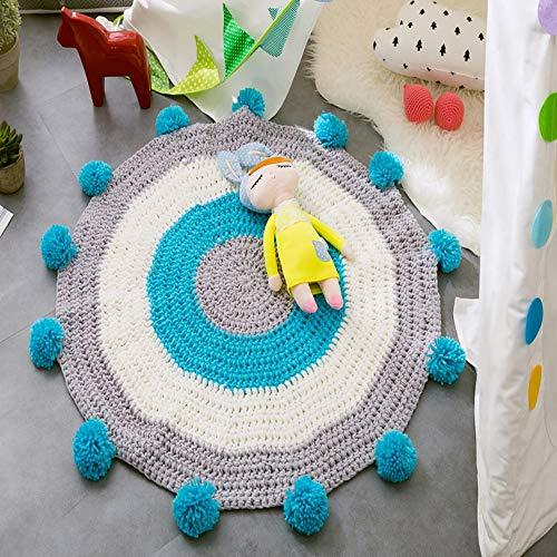 ZTXY Manual Knitting Wool Floor mat Children Room Bay Window mat Nordic Style Floor mat, Creep Blanket Diameter is 80cm