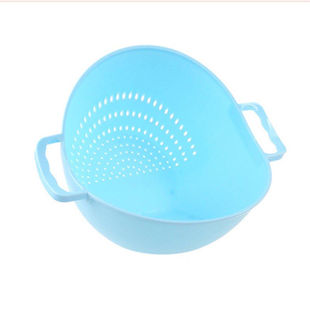 ♚Rendodon♚ Vegetable Rice Wash Sieve Strainer, Kitchen Tool, Sink Holder, Double Handle Rice Basket Kitchen Basket Rice Wash Sieve Strainer (Light Blue)