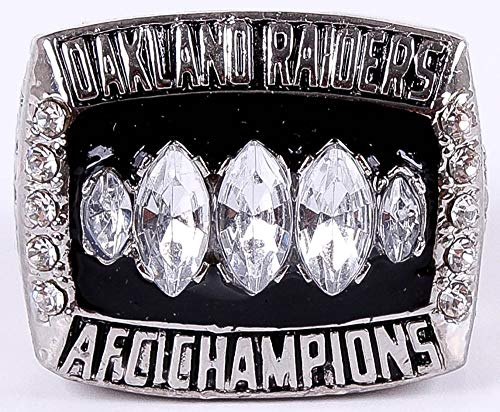 2002 MVP Rich Gannon #12 Oakland Raiders High Quality Replica AFC Champion Super Bowl XXXVII Ring Size 11-Silver Colored USA SHIPPER ()
