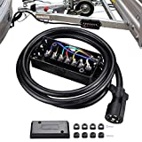 KASLIGHT 8FT IP68 7 Way Trailer Cord with Junction Box, 7 Way Trailer Plug 7 Wire Trailer Cable 7 Pin Trailer Wiring Harness Kit, Anti-Corrosion Heavy Duty Inline 7 Pin Trailer Connector