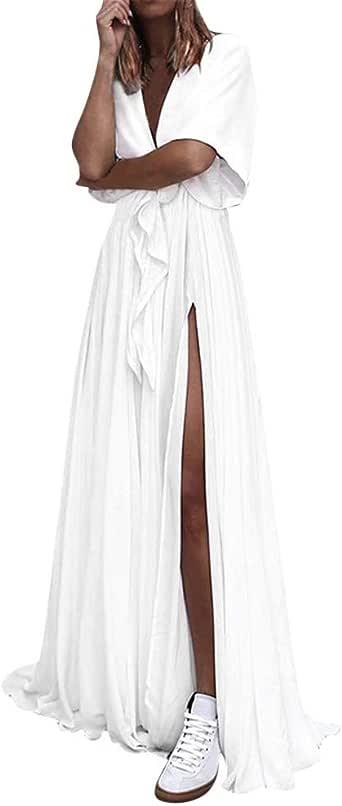 MERICAL Vestido Largo con Escote en V y Escote Maxi con Escote en ...