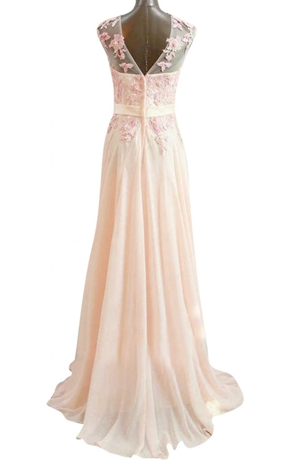 Amazon.com: Emma Y Romantic Chiffon Evening Gowns Appliques Long Prom Dress: Clothing