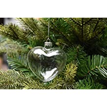 6 X Hanging Clear Heart Shape Glass Baubles Ornaments, Perfect for Garden Outdoor Christmas Wedding Decoration or DIY Personalize Gift
