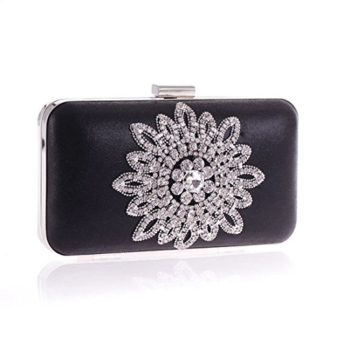 KERVINFENDRIYUN Purse Silver Black Flower Party Bag Evening Flower Clutch Bag Sun Moonlight Color Diamond Handbag AAZWgRUq