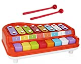 Toysery 2 In 1 Piano Xylophone for Kids, Educational Musical Instruments Toyset for Babies, Toddlers Preschoolers, 8 Key Scales in Clear and Crisp Tones with Music Cards Songbook