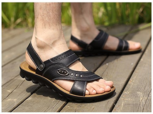 Männer Sandalen Männer Sommer Echtleder Dualer Gebrauch Strand Schuh Jugend Dicker Boden Rutschfest Atmungsaktiv Freizeit Männer Schuh ,schwarzB,US=7.5,UK=7,EU=40 2/3,CN=41